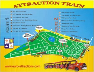 Tourist attraction train route for Pomorie Bulgaria Europe